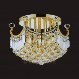 "16"" Flush Mount Crystal Chandelier"