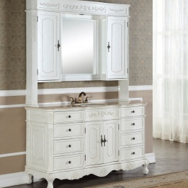 "60"" Kensington Antique White Bathroom Vanity"