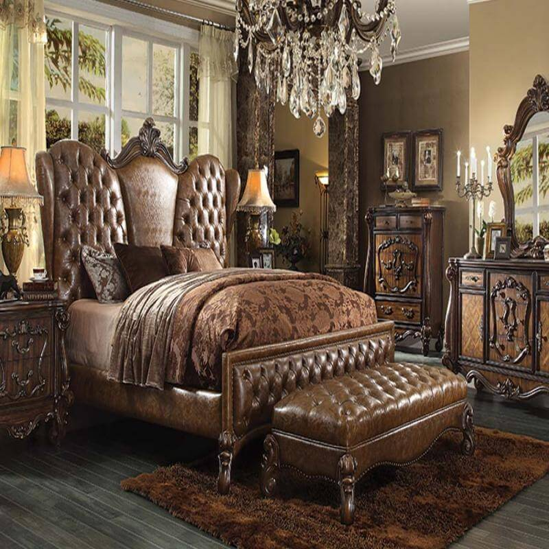 Two Tone Light Brown Bedroom Set Antique Recreations