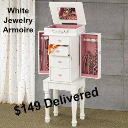 White Jewelry Armoire with Pink Interior