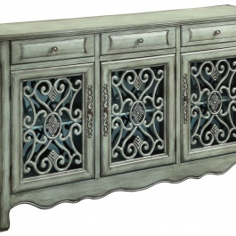 Traditional Antique Green Accent Cabinet