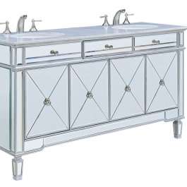 "60"" Mirrored Double Bathroom Vanity"