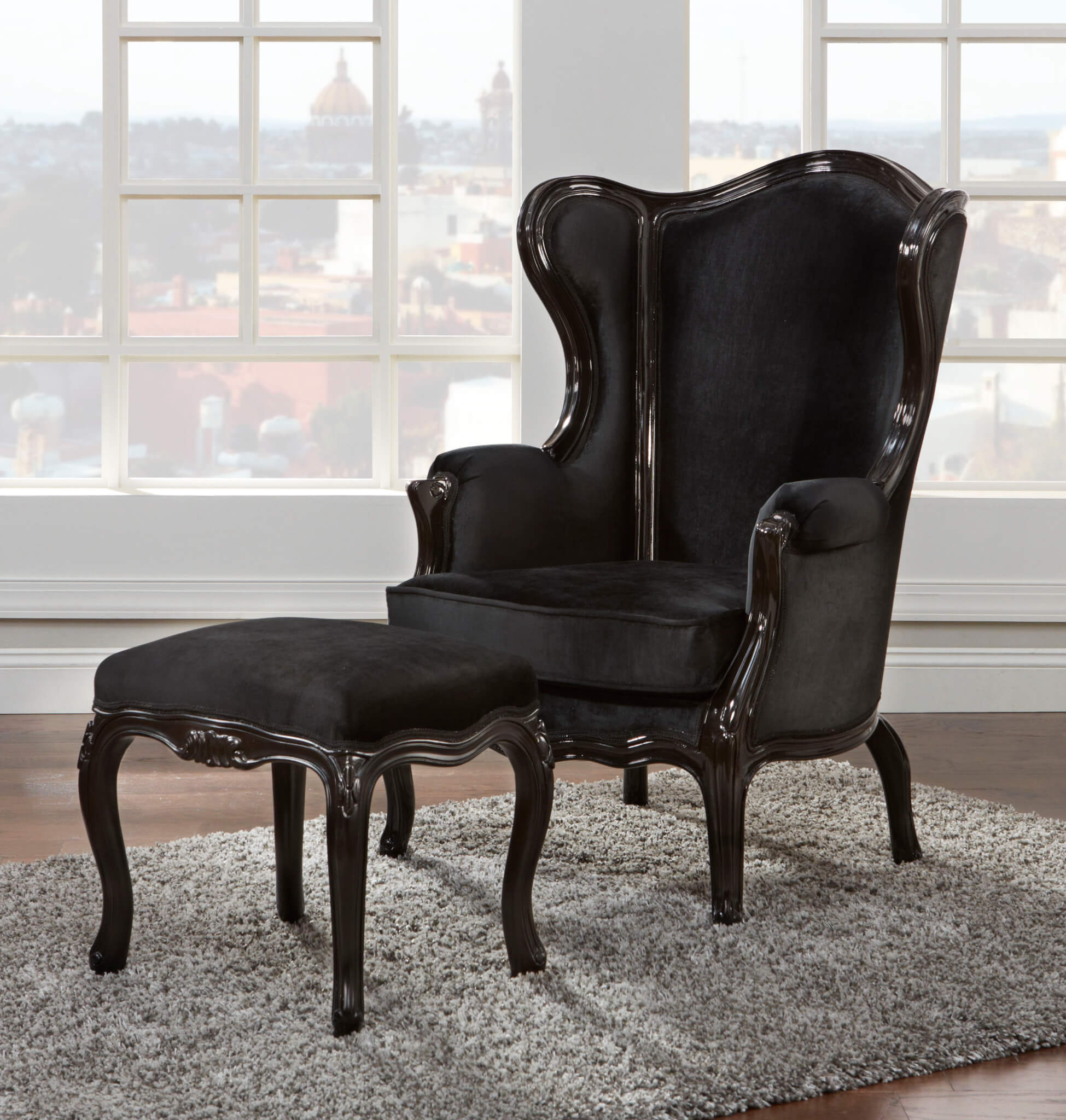 Wing chair with ottoman - Wing Chair And Ottoman