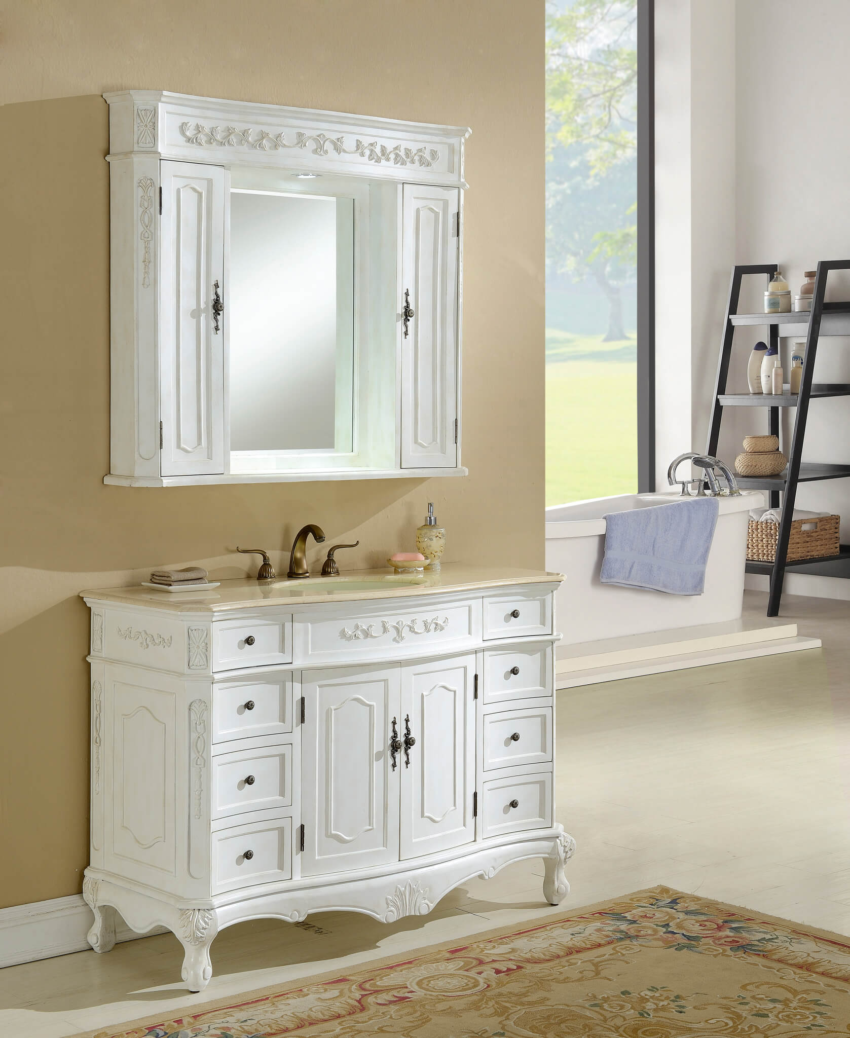 48u2033 Kensington Antique White Bath Vanity