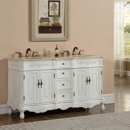 "60"" Kensington Antique White Bath Vanity"
