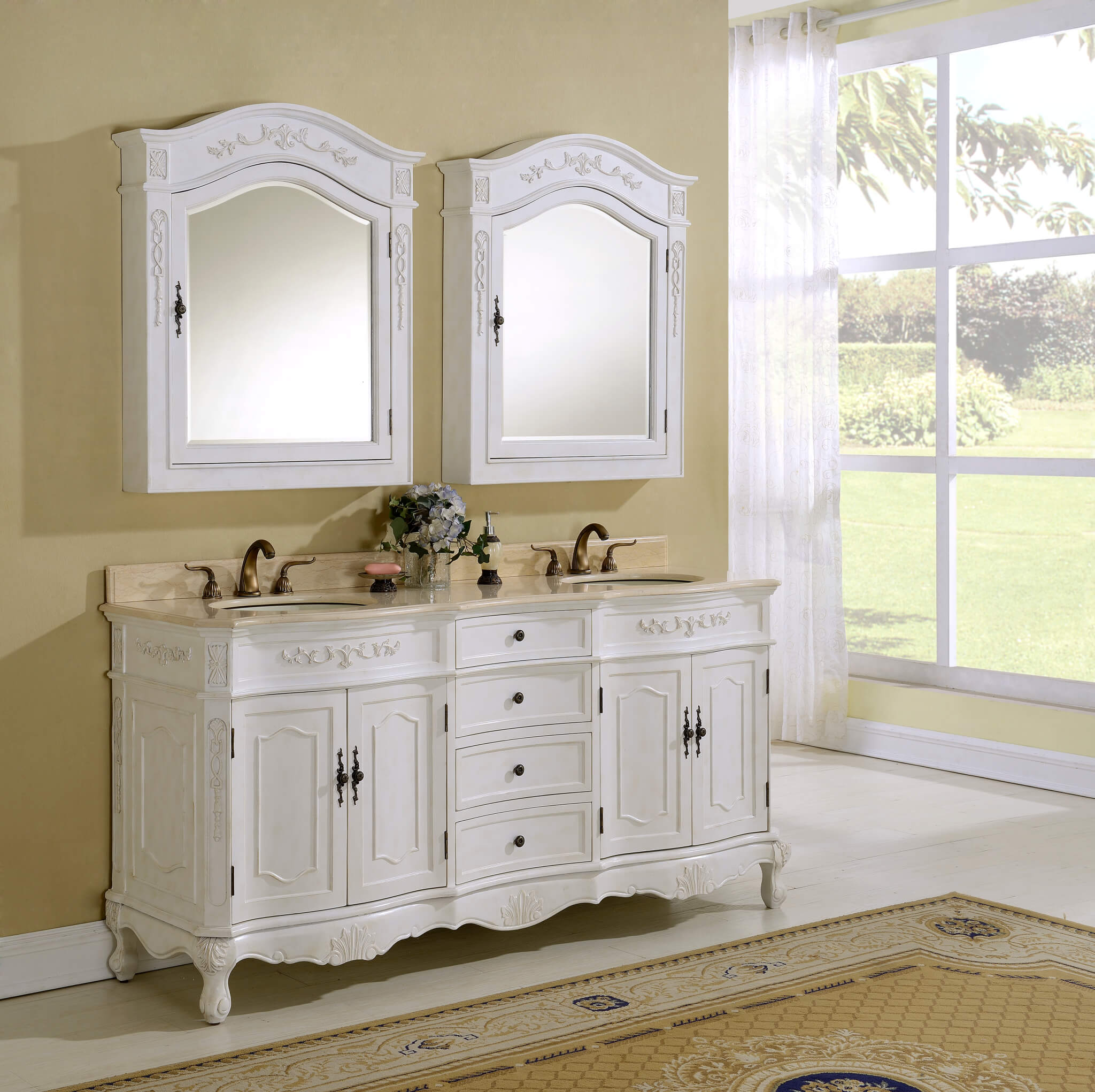 72u2033 Kensington Antique White Bath Vanity