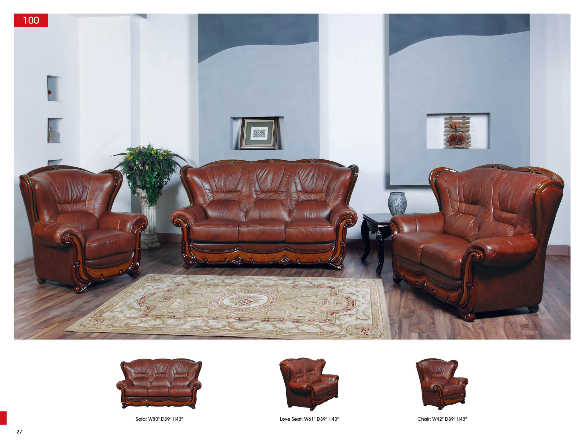 3 pc leather living room set antique recreations for Living room furniture sets