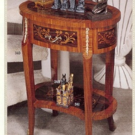 Oval Inlaid Side Table M107
