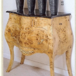 Burl Side Table Marble Top M109