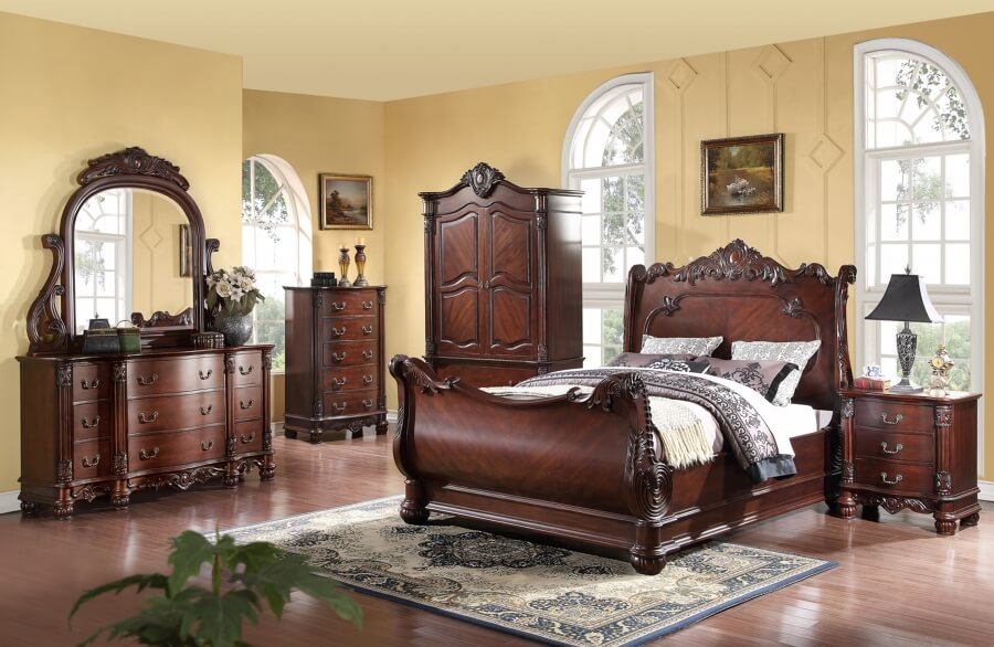 Valencia Carved Wood Traditional Bedroom Furniture Set 209000: Antique ReCreations
