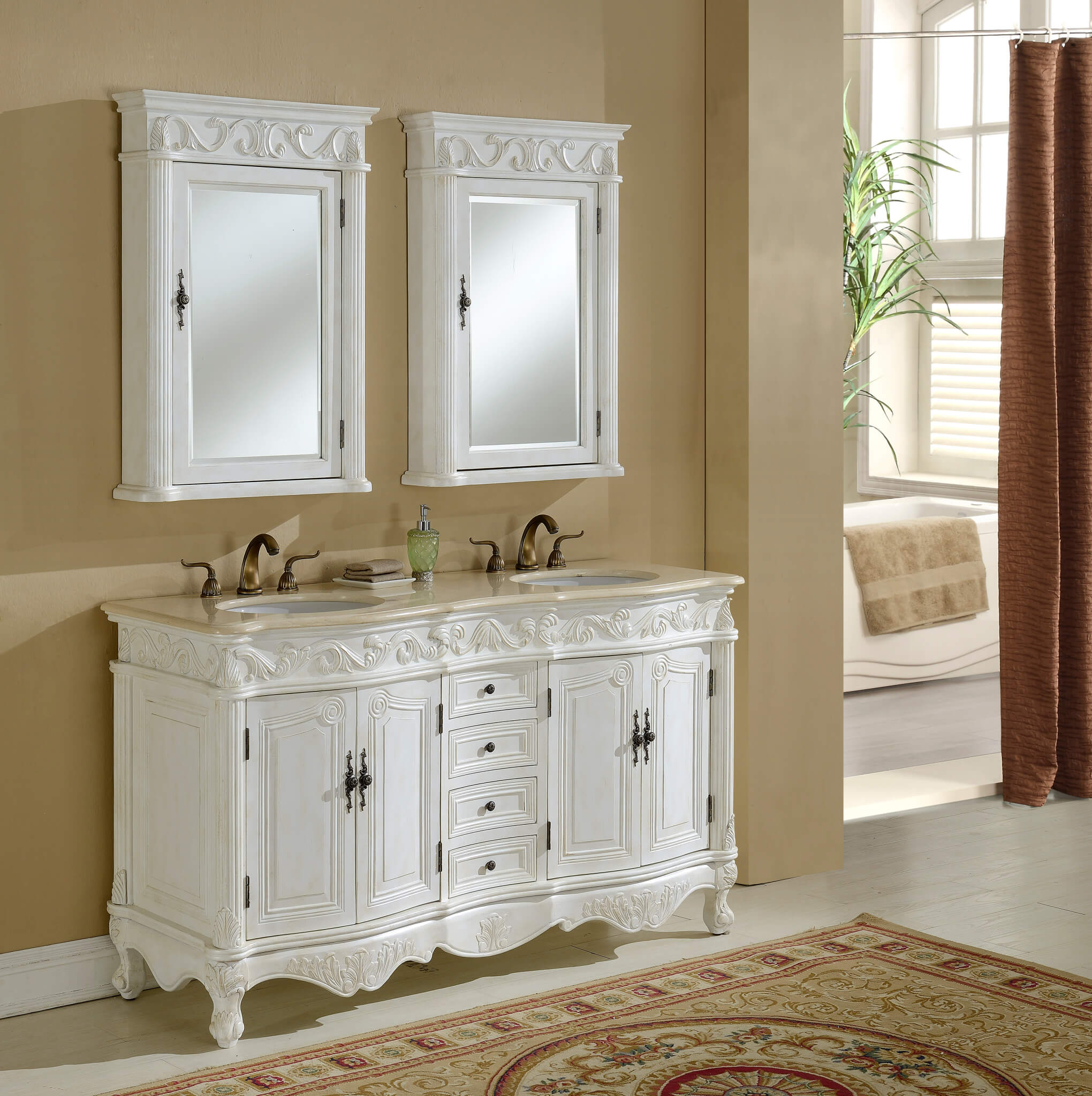 White double bathroom vanity - 60 Tuscany Teak Double Sink Bathroom Vanity