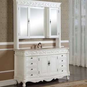 "60"" Tuscany Antique White Single Sink Vanity"