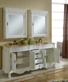 "72"" Tuscany Antique White Double Sink Bathroom Vanity"