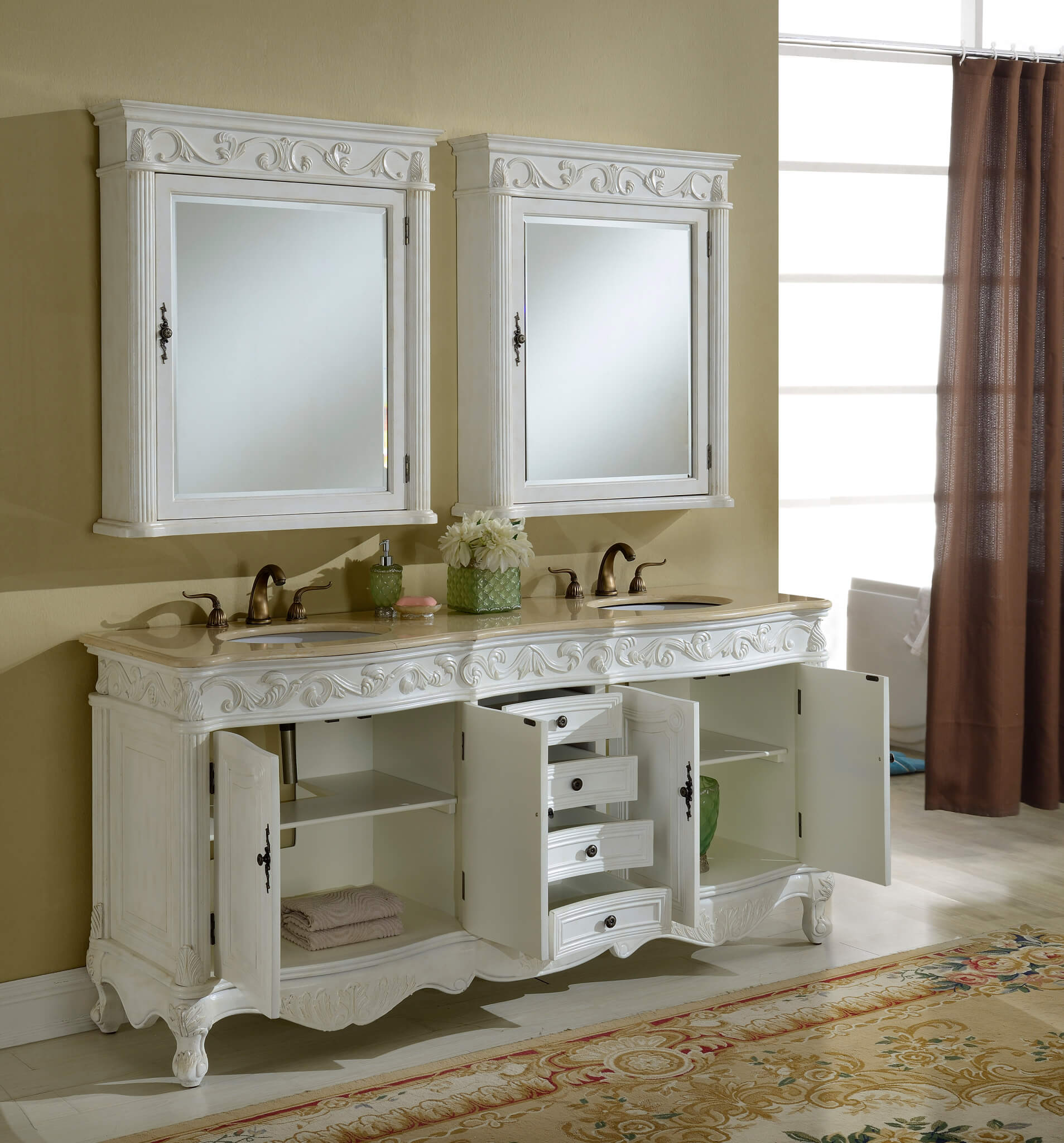 72 Tuscany Antique White Double Sink Bathroom Vanity Antique Recreations
