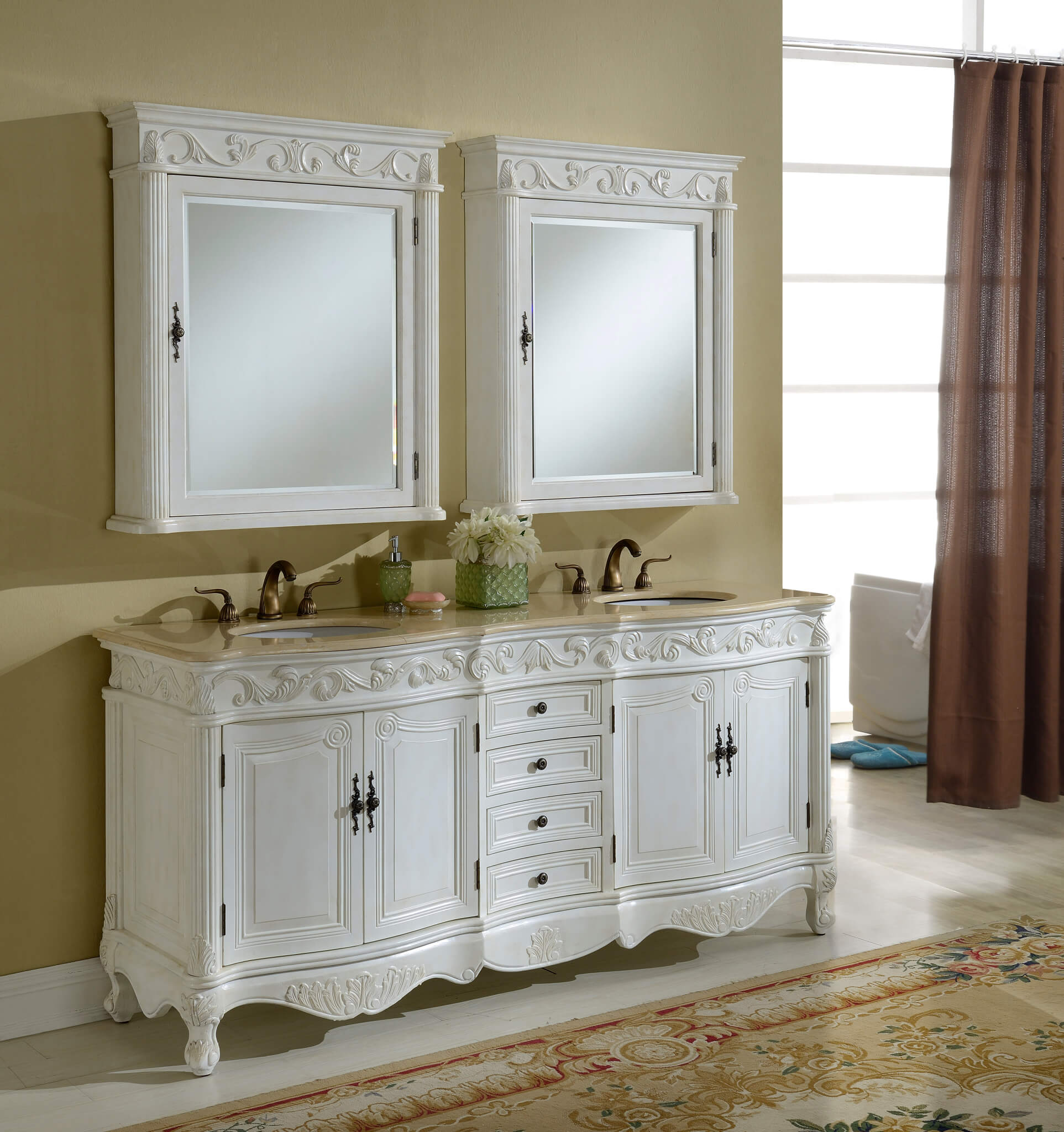 72u2033 Tuscany Antique White Double Sink Bathroom Vanity