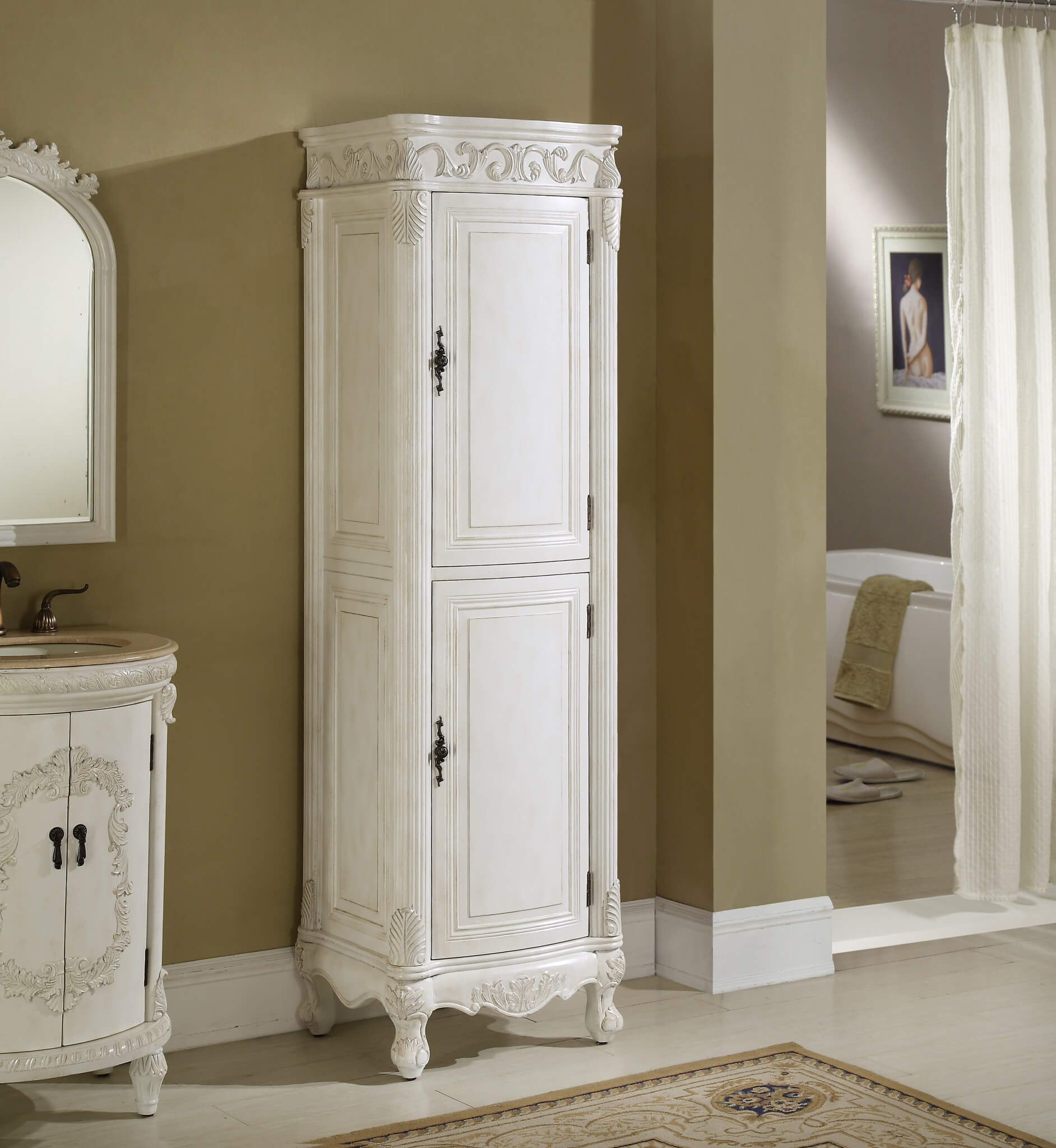cabinet storage mirrored antique linen white