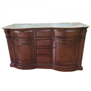 "60"" Cherry Double Sink Bathroom Vanity"
