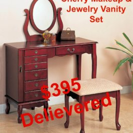 Cherry Makeup & Jewelry Vanity Set
